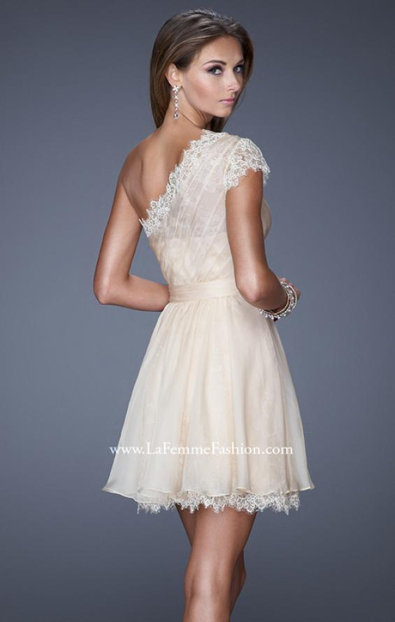 Picture of: One Strap Chiffon Cocktail Dress with Belt and Lace Trim, Style: 20663, Back Picture