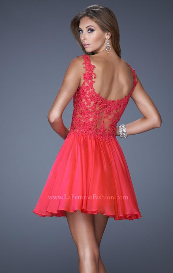Picture of: Lace Bodice Sweetheart Neck Chiffon Prom Gown, Style: 20672, Back Picture