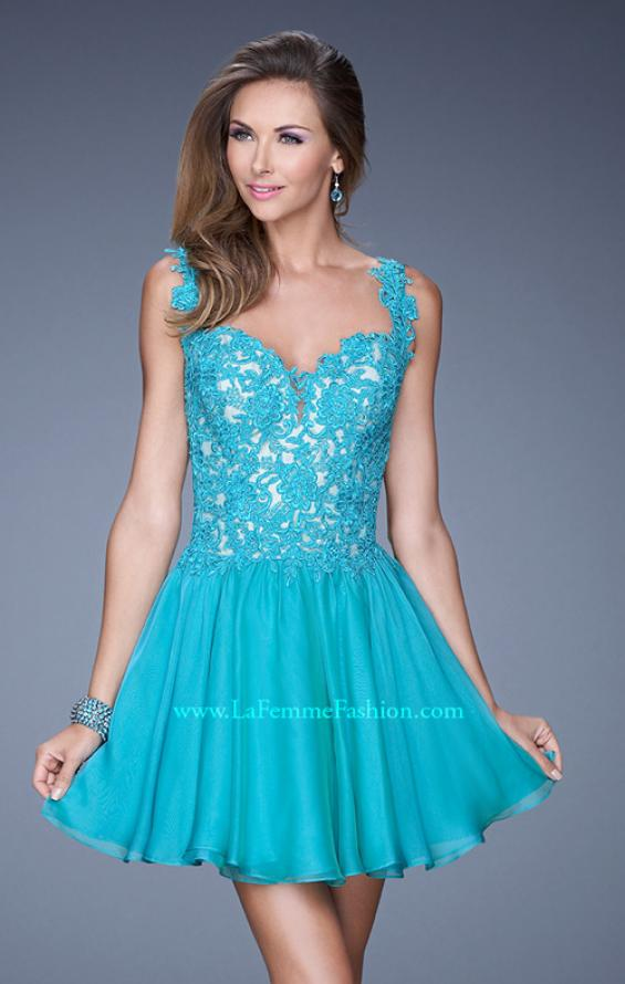 Picture of: Lace Bodice Sweetheart Neck Chiffon Prom Gown, Style: 20672, Detail Picture 1