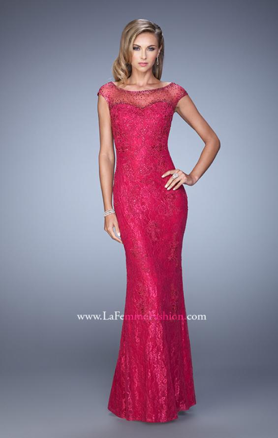 Picture of: Embellished Lace Evening Dress with Cap Sleeves in Pink, Style: 20673, Main Picture