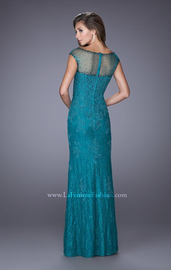 Picture of: Embellished Lace Evening Dress with Cap Sleeves in Blue, Style: 20673, Back Picture
