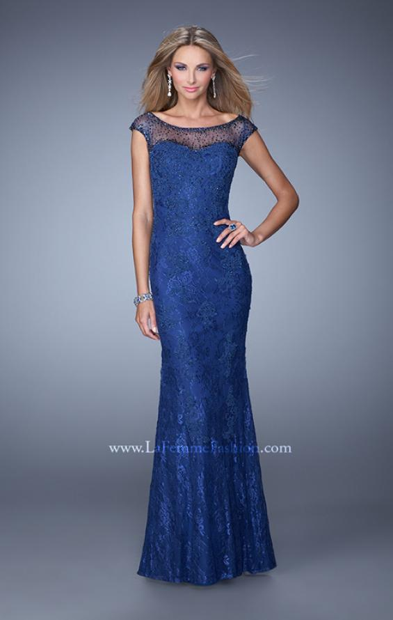 Picture of: Embellished Lace Evening Dress with Cap Sleeves in Blue, Style: 20673, Detail Picture 1