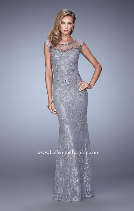 Picture of: Embellished Lace Evening Dress with Cap Sleeves in Silver, Style: 20673, Detail Picture 2