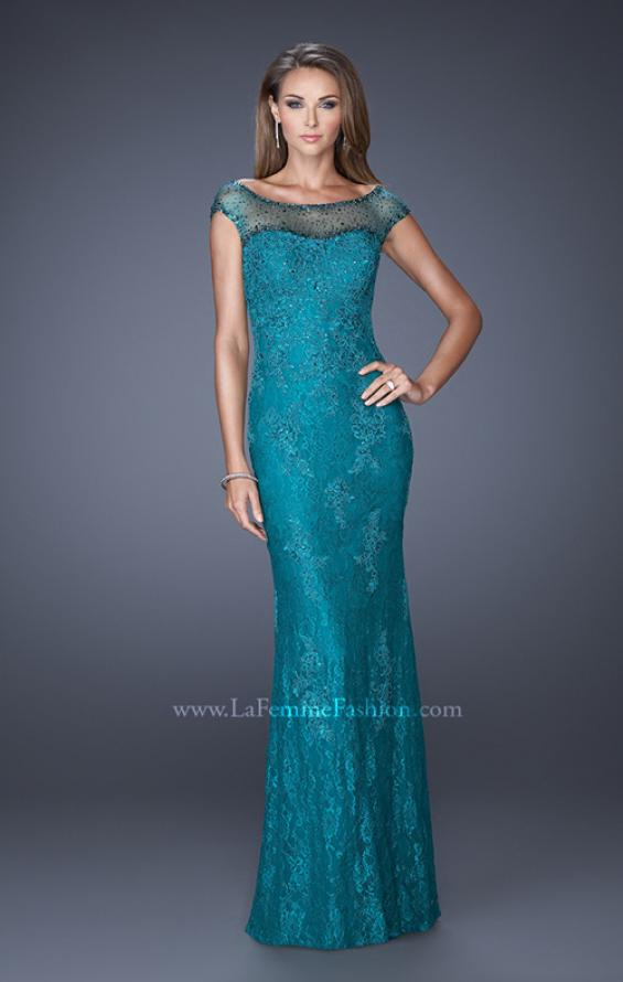 Picture of: Embellished Lace Evening Dress with Cap Sleeves in Blue, Style: 20673, Detail Picture 3