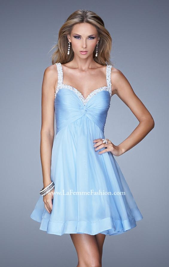 Picture of: Flirty Chiffon Skirt Cocktail Dress with Pearls and Stones in Blue, Style: 20677, Main Picture