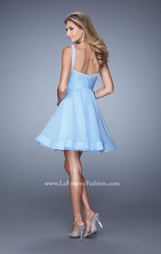 Picture of: Flirty Chiffon Skirt Cocktail Dress with Pearls and Stones in Blue, Style: 20677, Back Picture