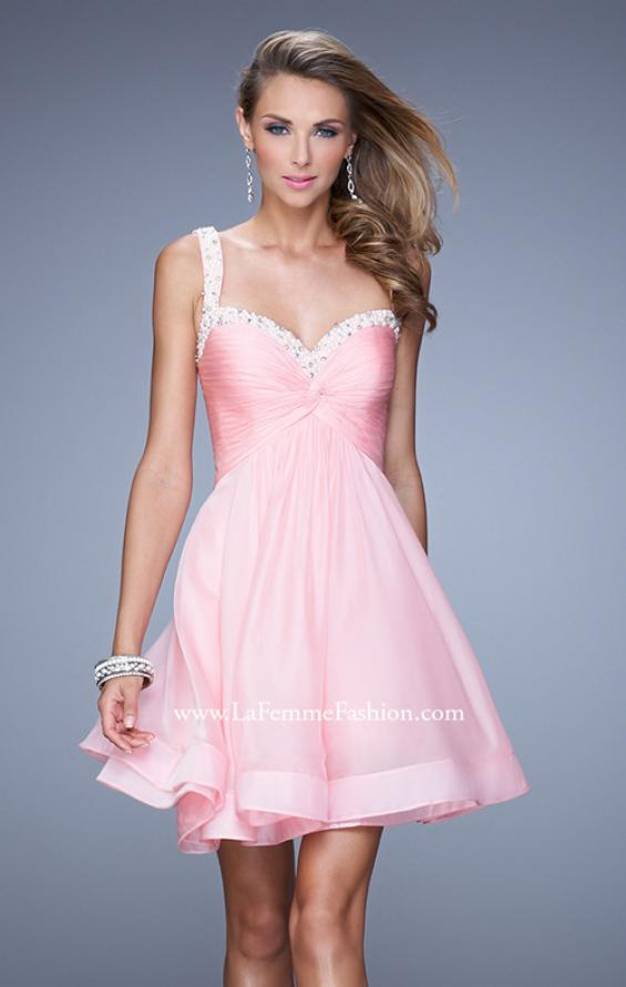 Picture of: Flirty Chiffon Skirt Cocktail Dress with Pearls and Stones in Pink, Style: 20677, Detail Picture 1