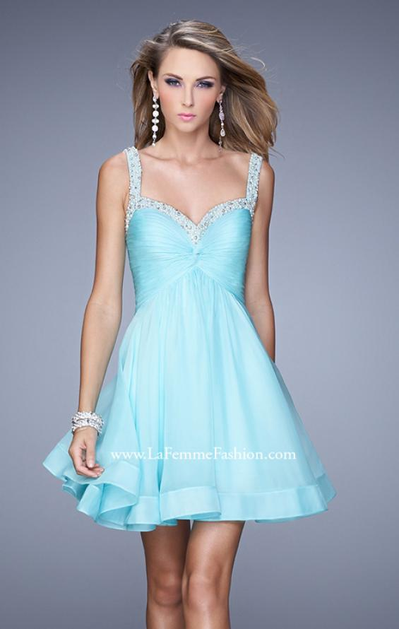 Picture of: Flirty Chiffon Skirt Cocktail Dress with Pearls and Stones in Blue, Style: 20677, Detail Picture 2