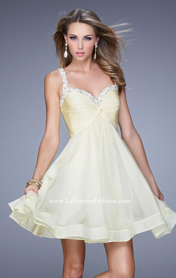 Picture of: Flirty Chiffon Skirt Cocktail Dress with Pearls and Stones in Yellow, Style: 20677, Detail Picture 3