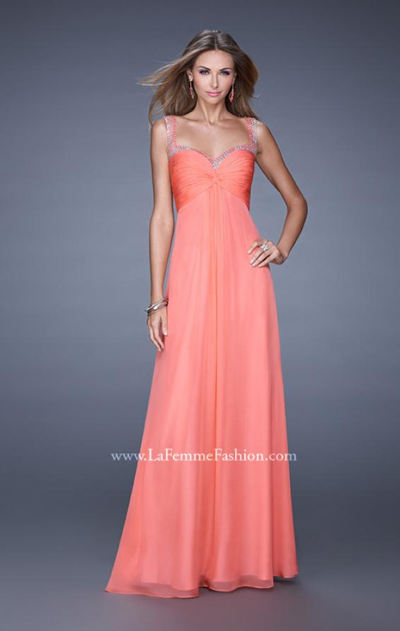 Picture of: Sweetheart Chiffon Prom Dress with Embellishments in Orange, Style: 20678, Detail Picture 3