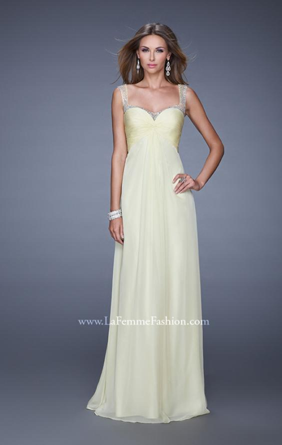 Picture of: Sweetheart Chiffon Prom Dress with Embellishments in Yellow, Style: 20678, Detail Picture 4
