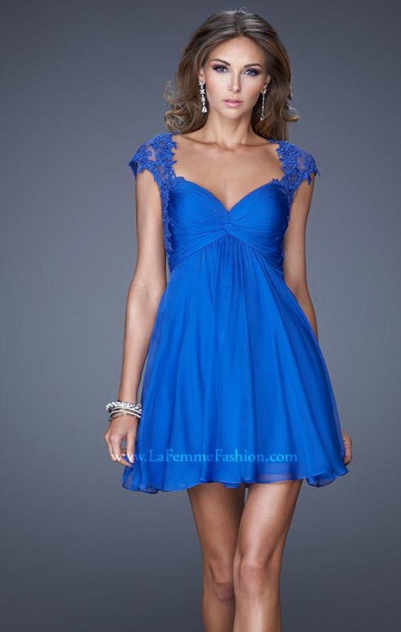 Picture of: Ruched Bodice and Cap Sleeve Sweetheart Prom Dress, Style: 20682, Main Picture