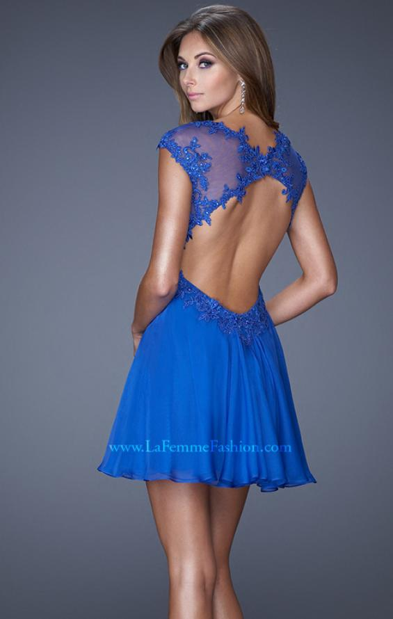 Picture of: Ruched Bodice and Cap Sleeve Sweetheart Prom Dress, Style: 20682, Back Picture