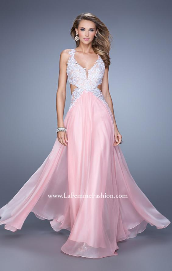 Picture of: Beaded Lace Chiffon Prom Gown with Criss Cross Straps in Pink, Style: 20692, Main Picture