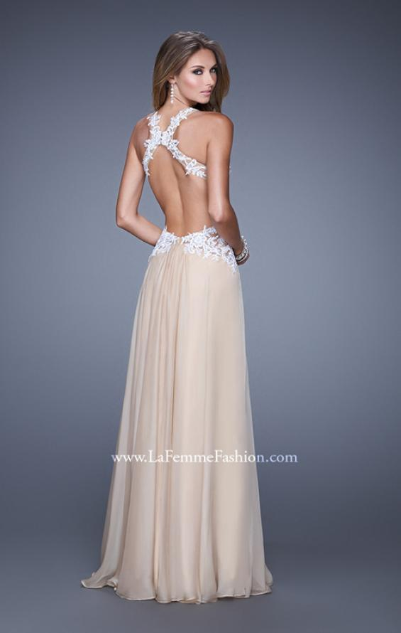 Picture of: Beaded Lace Chiffon Prom Gown with Criss Cross Straps in White Nude, Style: 20692, Back Picture