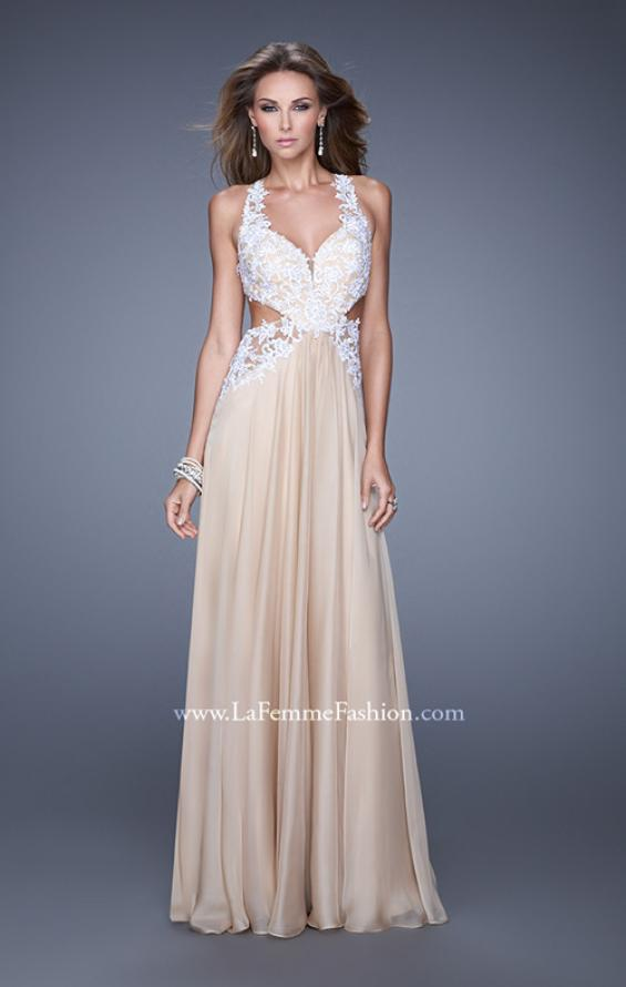 Picture of: Beaded Lace Chiffon Prom Gown with Criss Cross Straps in White Nude, Style: 20692, Detail Picture 1