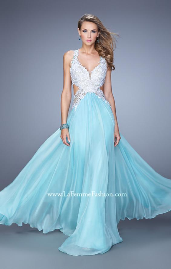 Picture of: Beaded Lace Chiffon Prom Gown with Criss Cross Straps in Blue, Style: 20692, Detail Picture 2