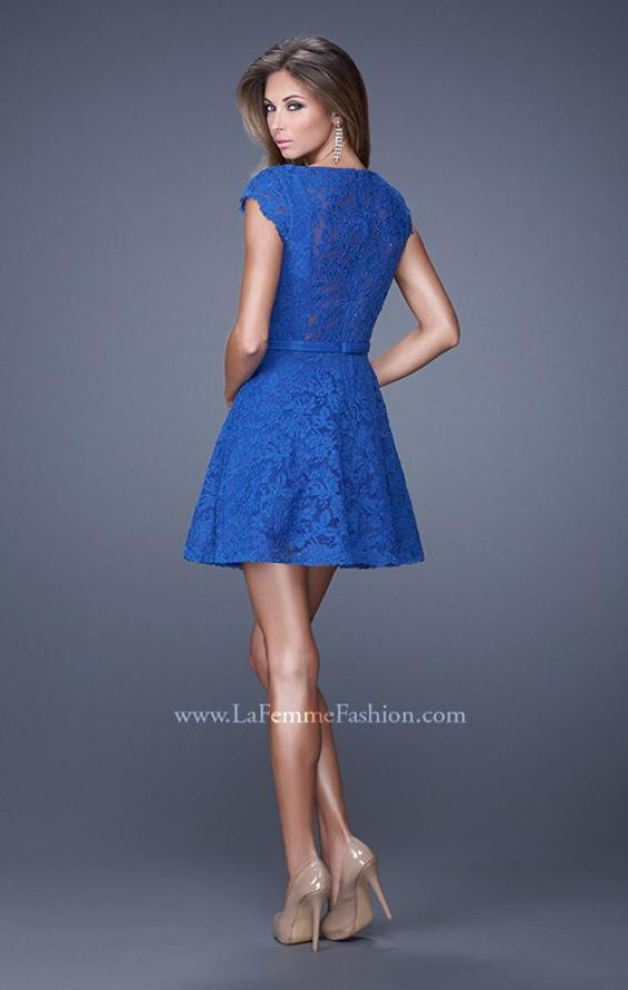 Picture of: Sheer Cap Sleeve Lace Cocktail Dress with Thin Belt in Blue, Style: 20699, Back Picture