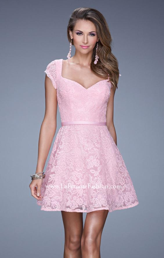 Picture of: Sheer Cap Sleeve Lace Cocktail Dress with Thin Belt in Pink, Style: 20699, Detail Picture 1