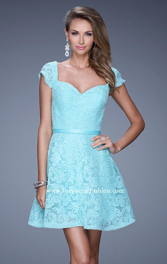 Picture of: Sheer Cap Sleeve Lace Cocktail Dress with Thin Belt in Aqua, Style: 20699, Detail Picture 2