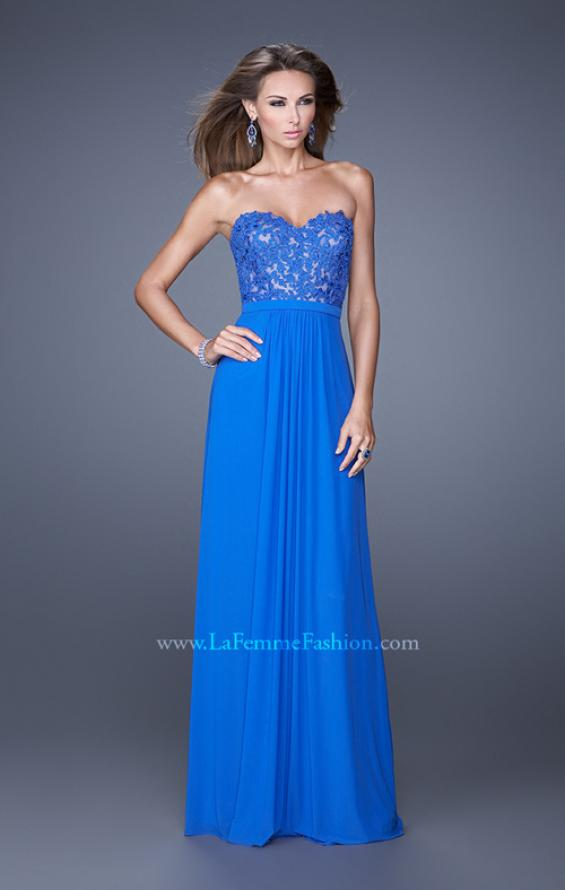 Picture of: Long Net Jersey Prom Dress with Lace Covered Bodice in Blue, Style: 20700, Main Picture