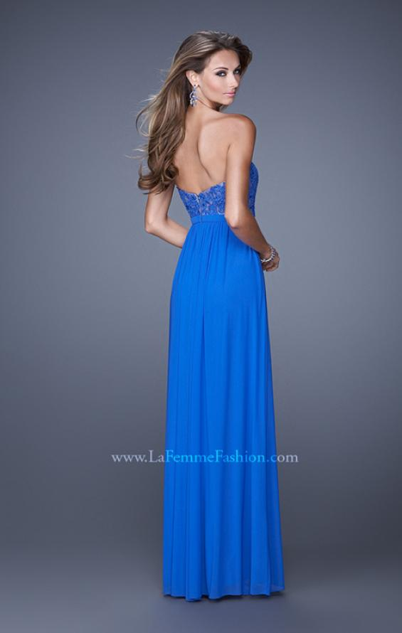 Picture of: Long Net Jersey Prom Dress with Lace Covered Bodice in Blue, Style: 20700, Back Picture
