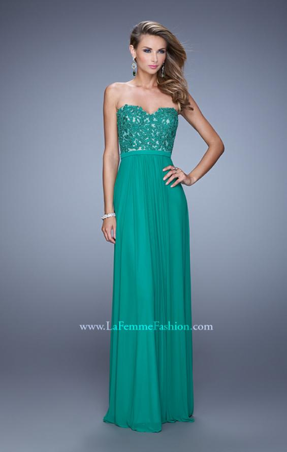 Picture of: Long Net Jersey Prom Dress with Lace Covered Bodice in Green, Style: 20700, Detail Picture 1