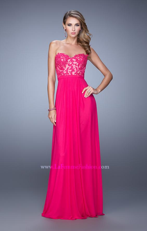 Picture of: Long Net Jersey Prom Dress with Lace Covered Bodice in Pink, Style: 20700, Detail Picture 2