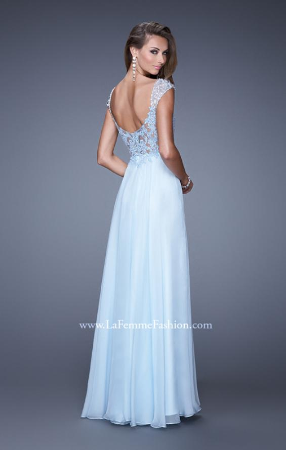 Picture of: Beaded Lace Sweetheart Prom Dress with Sheer Straps, Style: 20701, Back Picture