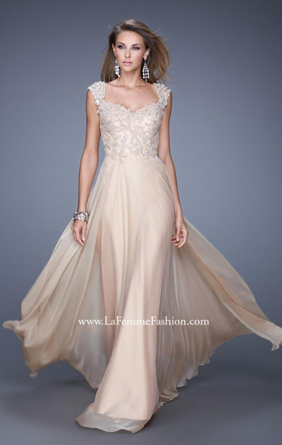 Picture of: Beaded Lace Sweetheart Prom Dress with Sheer Straps, Style: 20701, Detail Picture 2