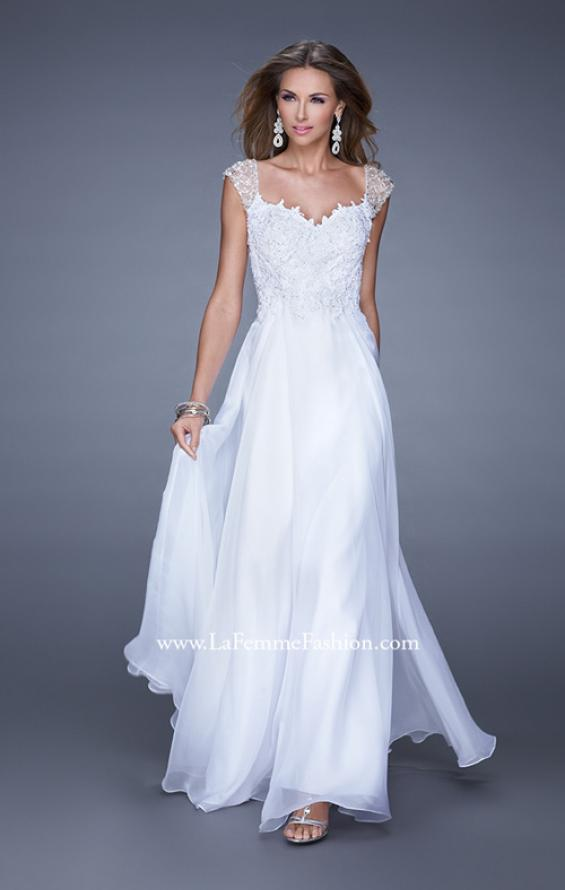 Picture of: Beaded Lace Sweetheart Prom Dress with Sheer Straps, Style: 20701, Detail Picture 4