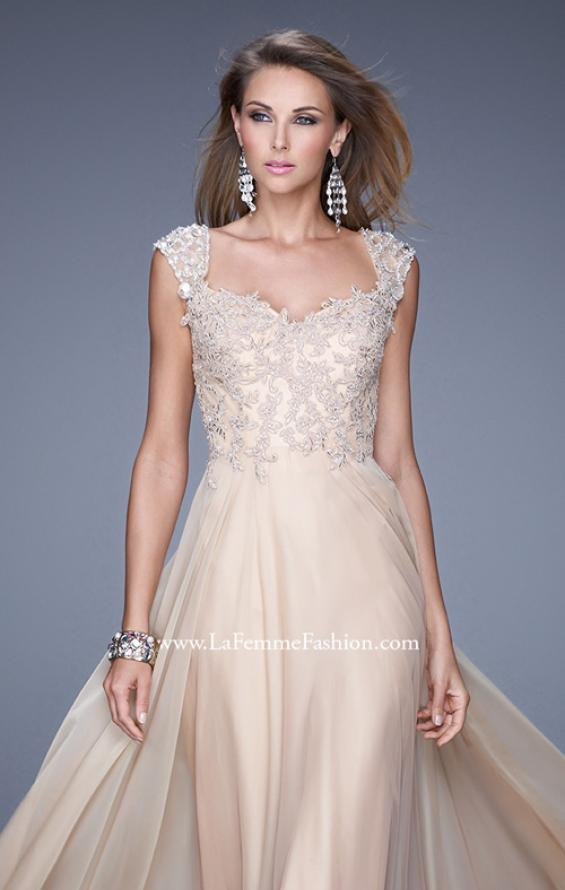 Picture of: Beaded Lace Sweetheart Prom Dress with Sheer Straps, Style: 20701, Detail Picture 5
