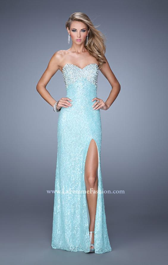 Picture of: Pearl Encrusted Beaded Lace Long Prom Gown, Style: 20705, Main Picture