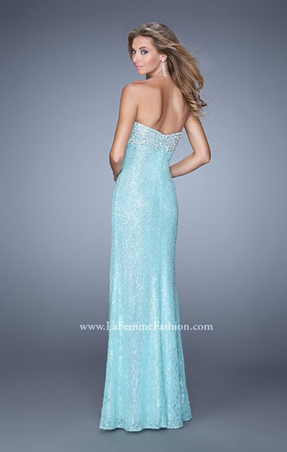 Picture of: Pearl Encrusted Beaded Lace Long Prom Gown, Style: 20705, Back Picture