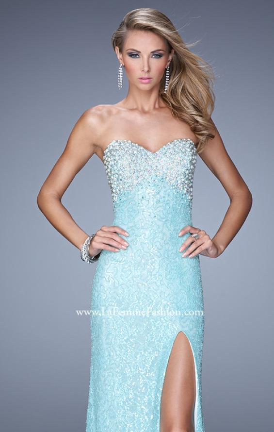 Picture of: Pearl Encrusted Beaded Lace Long Prom Gown, Style: 20705, Detail Picture 1