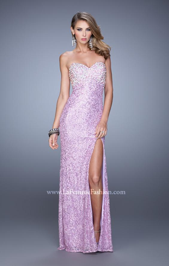 Picture of: Pearl Encrusted Beaded Lace Long Prom Gown, Style: 20705, Detail Picture 2