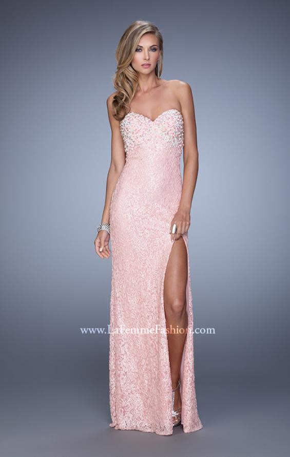 Picture of: Pearl Encrusted Beaded Lace Long Prom Gown, Style: 20705, Detail Picture 3