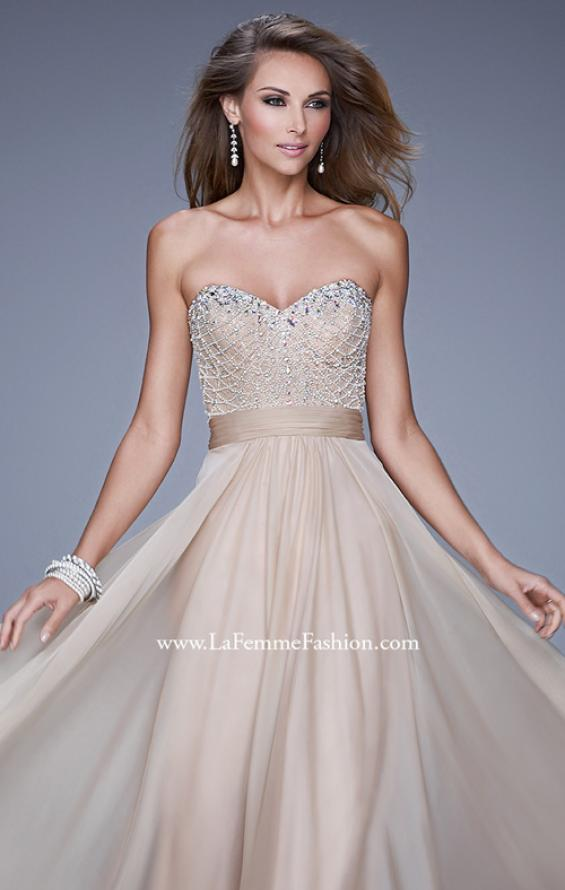 Picture of: Vintage Inspired Strapless Prom Dress with Embellishments, Style: 20708, Detail Picture 1