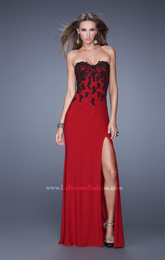 Picture of: Beaded Lace Strapless Jersey Prom Dress with Slit, Style: 20719, Main Picture