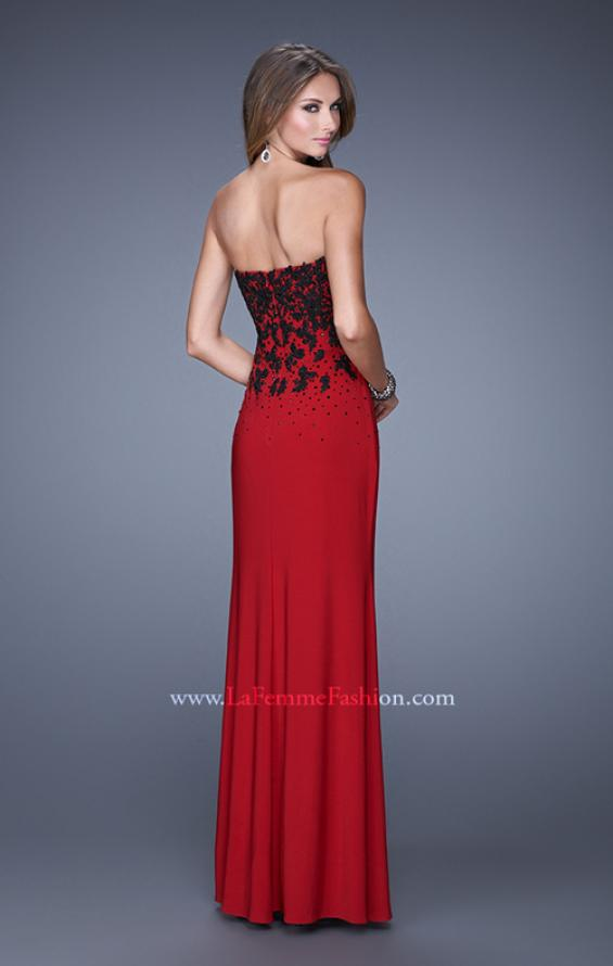 Picture of: Beaded Lace Strapless Jersey Prom Dress with Slit, Style: 20719, Back Picture