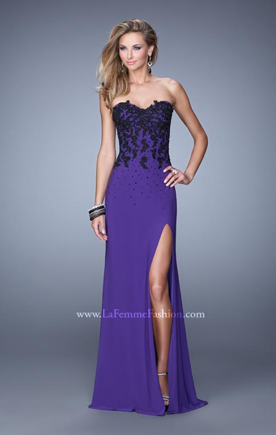 Picture of: Beaded Lace Strapless Jersey Prom Dress with Slit, Style: 20719, Detail Picture 1