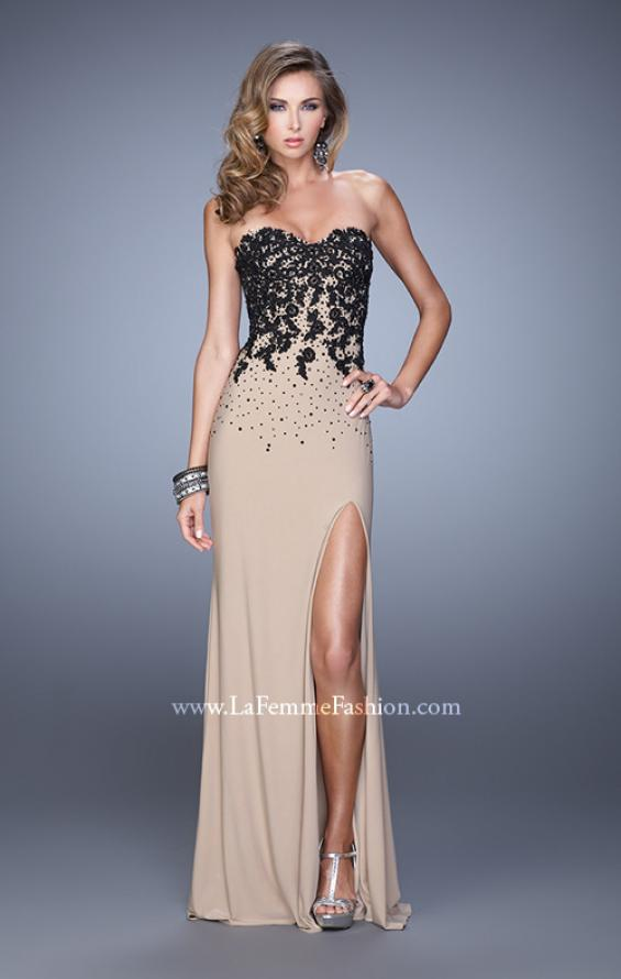 Picture of: Beaded Lace Strapless Jersey Prom Dress with Slit, Style: 20719, Detail Picture 2