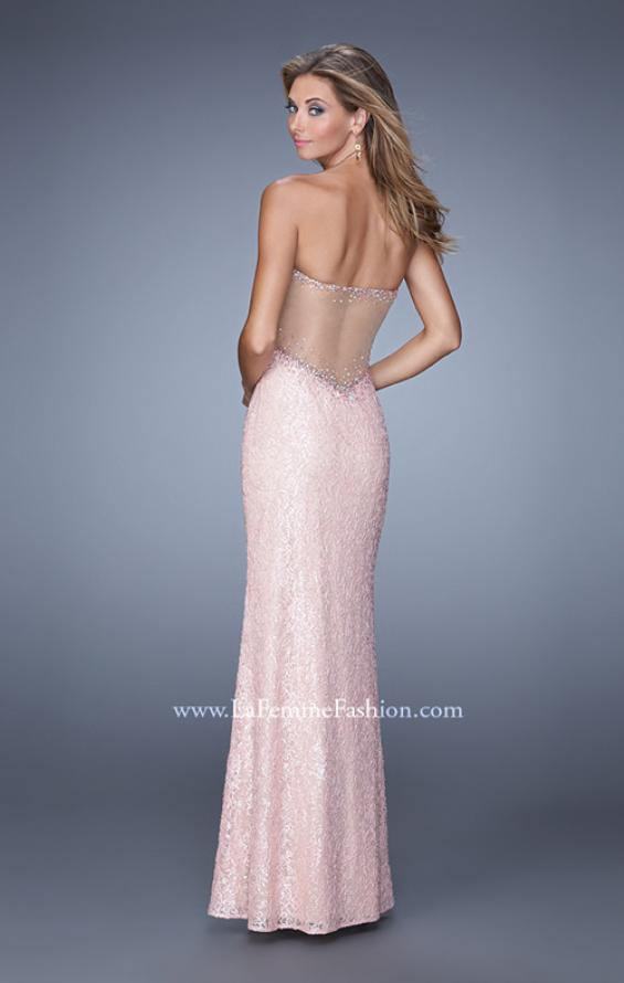 Picture of: Beaded Lace Gown with Illusion Net Detailing in Pink, Style: 20720, Back Picture