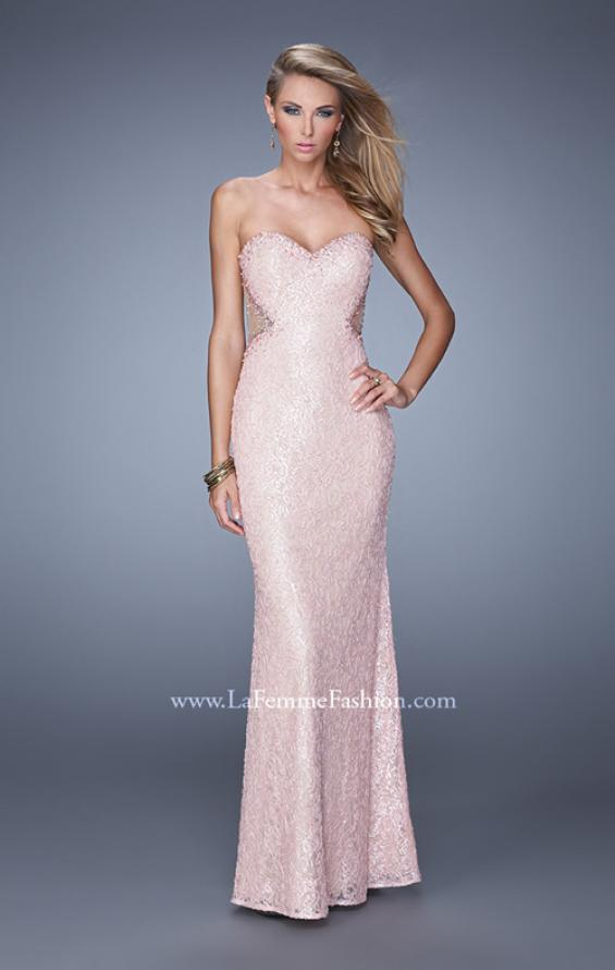 Picture of: Beaded Lace Gown with Illusion Net Detailing in Pink, Style: 20720, Detail Picture 1