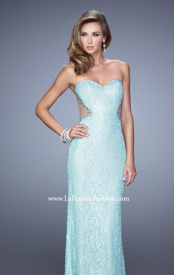 Picture of: Beaded Lace Gown with Illusion Net Detailing in Aqua, Style: 20720, Detail Picture 2