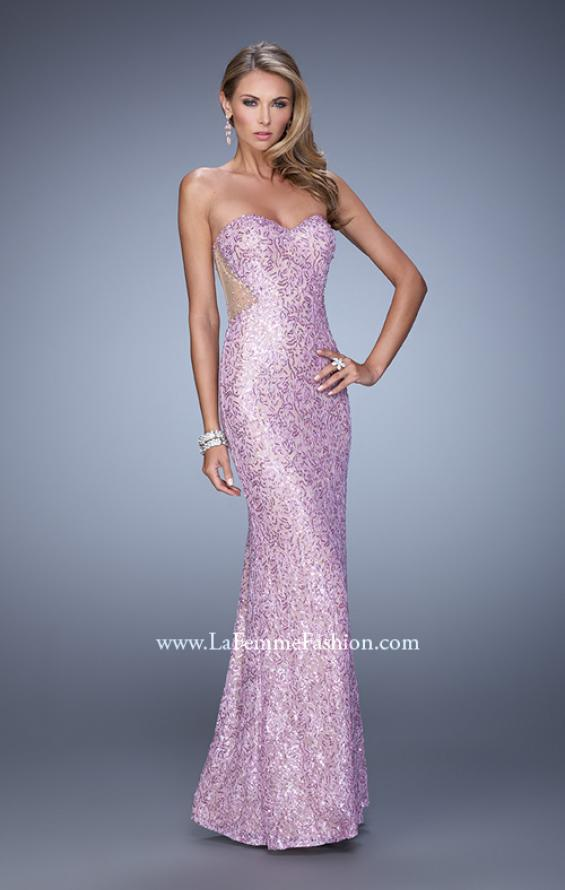 Picture of: Beaded Lace Gown with Illusion Net Detailing in Purple, Style: 20720, Detail Picture 3