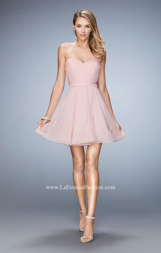 Picture of: Strapless Chiffon Short Dress with Gathered Waist in Pink, Style: 20721, Detail Picture 1