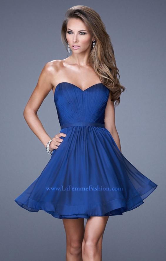 Picture of: Strapless Chiffon Short Dress with Gathered Waist in Blue, Style: 20721, Detail Picture 2