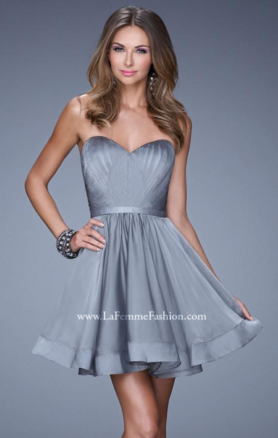 Picture of: Strapless Chiffon Short Dress with Gathered Waist in Silver, Style: 20721, Detail Picture 3