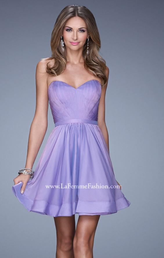 Picture of: Strapless Chiffon Short Dress with Gathered Waist in Purple, Style: 20721, Detail Picture 4